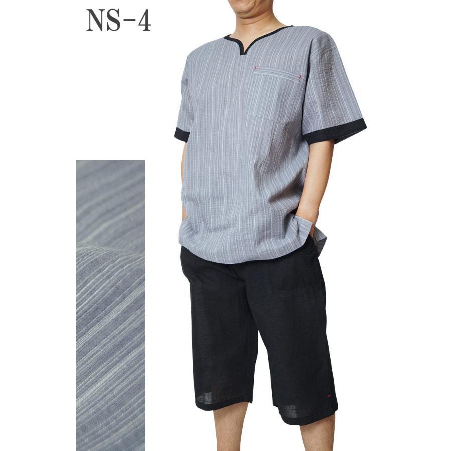 ヘンリーネック 甚平 ホームウェアしじら織り 綿80%麻20% ロングパンツ黒 M/L/LL/3L/4L/5L 大幅値下げ|himeka-wa-samue|05