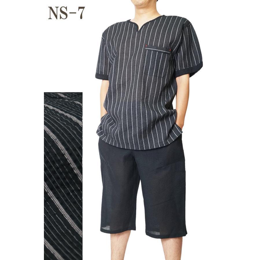 ヘンリーネック 甚平 ホームウェアしじら織り 綿80%麻20% ロングパンツ黒 M/L/LL/3L/4L/5L 大幅値下げ|himeka-wa-samue|08