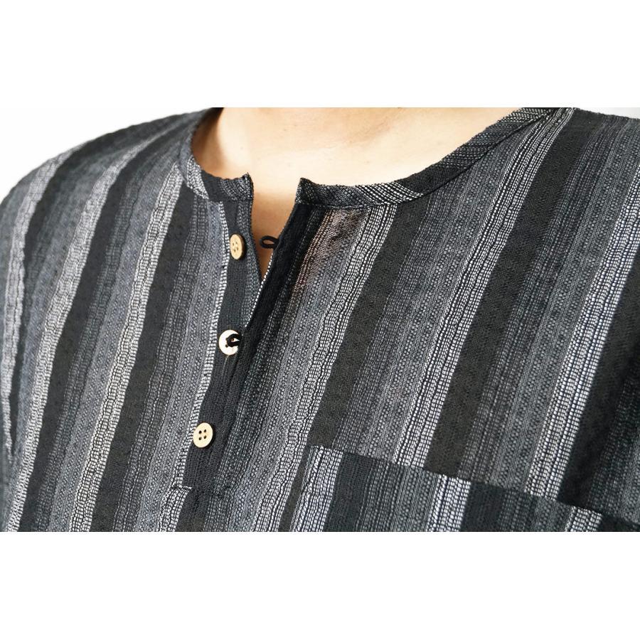 甚平 ヘンリーシャツ メンズ JIN しじら織り ロングパンツ 上下セット M/L/LL/3L/4L|himeka-wa-samue|14