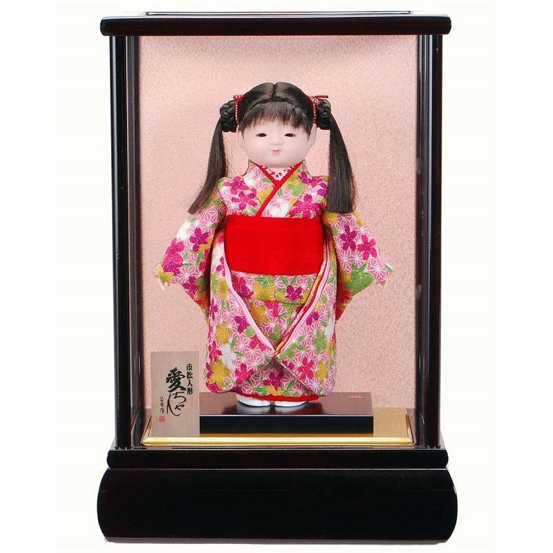 雛人形 ケース入り市松人形 8号 愛ちゃん 高さ35cm 07A 花梨塗