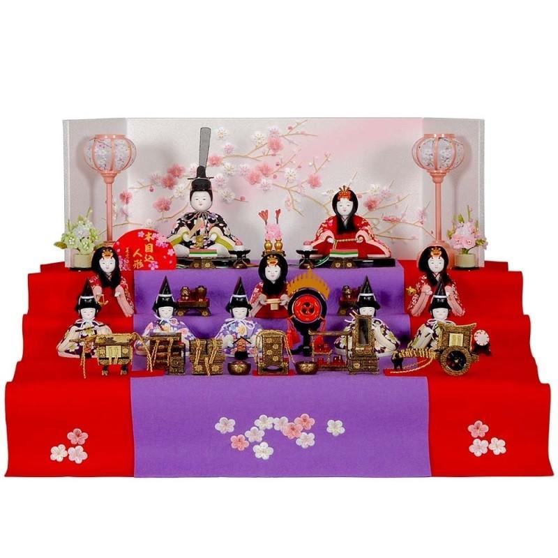 雛人形 木目込み 10人三段飾り 木目込み10人セット枝に梅本装屏風 毛せんのお雛様 sb-1-1