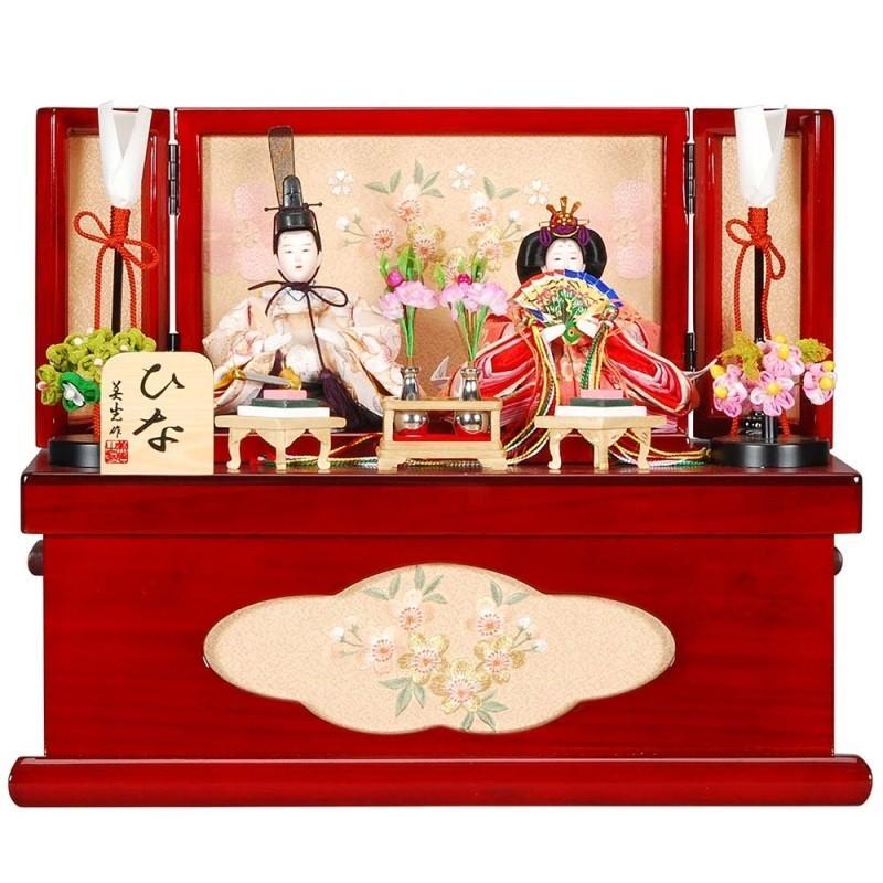 雛人形 親王収納飾り 紅(くれない)セットワイン塗り刺しゅう大桜小桜屏風 sb-12-144