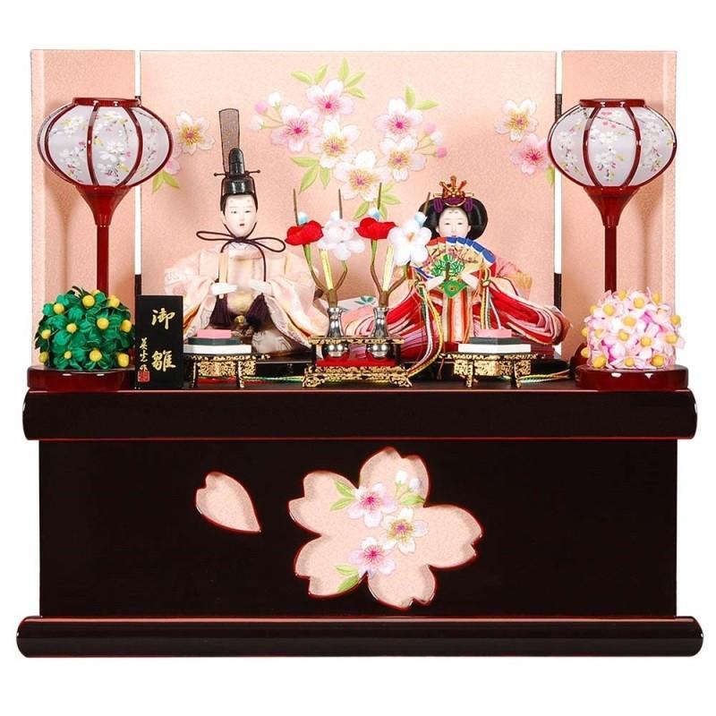 雛人形 親王収納飾り さくらセット会津/赤塗桜屏風 sb-12-145