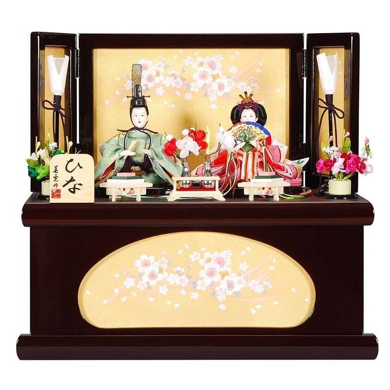 雛人形 親王収納飾り 薫(かおる)セット葡萄色夢桜屏風 sb-12-147