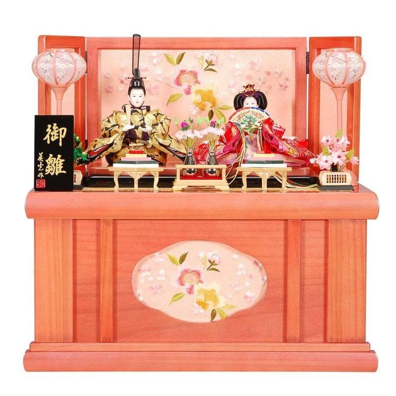 雛人形 親王収納飾り 綾音(あやね)セットパールピンク塗り刺しゅう菱型桜屏風 ピンクのお雛様 sb-13-159