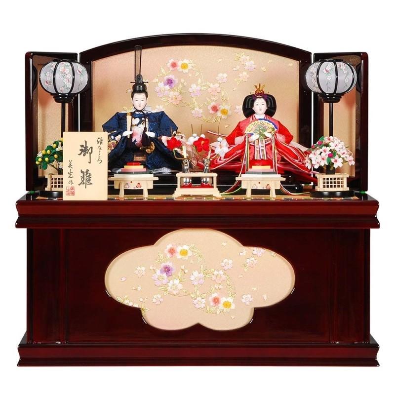 雛人形 親王収納飾り 華宴(かえん)セット溜塗り花丸屏風 sb-14-179