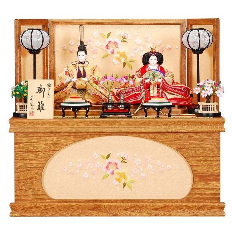 雛人形 親王収納飾り 恵(めぐみ)セット古代消塗り刺しゅう菱型桜屏風 sb-15-184 親王収納飾