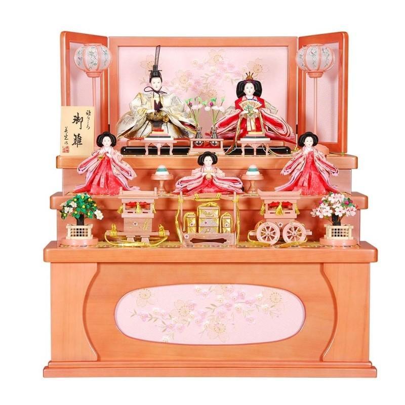 雛人形 5人収納飾り 菊園(きくぞの)セットパールピンク塗り刺しゅうシルエット桜屏風 ピンクのお雛様 sb-16-200