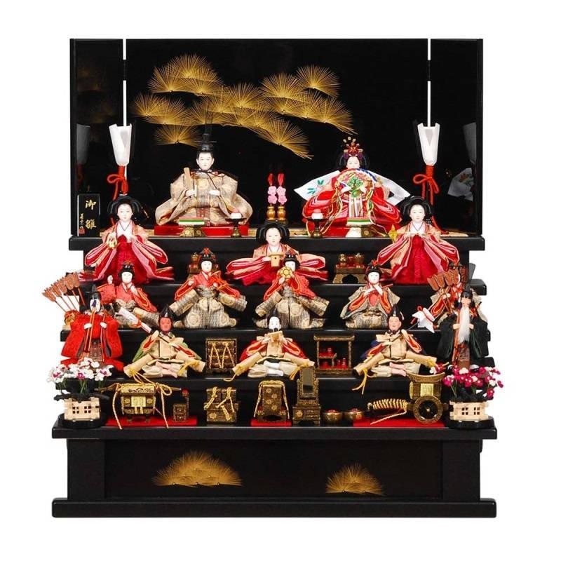 雛人形 15人五段飾り 弥生(やよい)セット黒艶消塗り沈金松屏風 sb-3-40