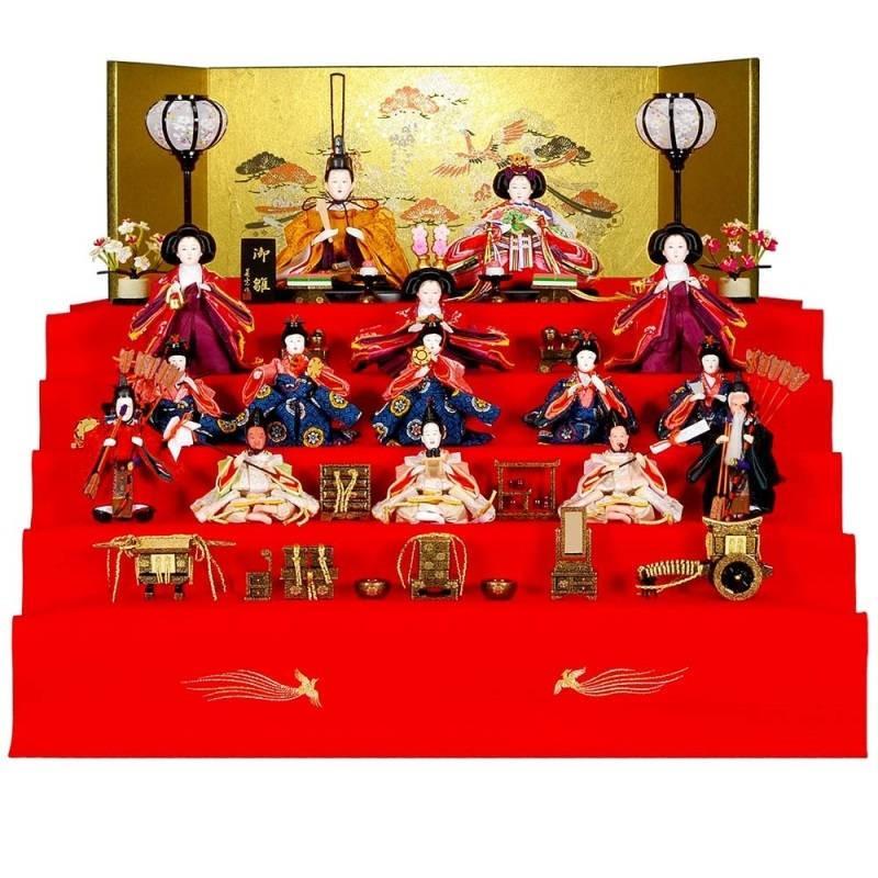 雛人形 15人五段飾り 即位雛(そくいびな)セット松に鳳凰本装屏風 毛せんのお雛様 sb-3-44