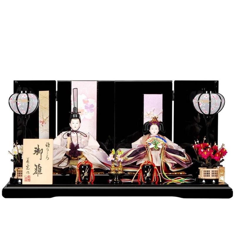 雛人形 親王平飾り かずみセット黒塗り短冊桜屏風 sb-6-66 親王平飾
