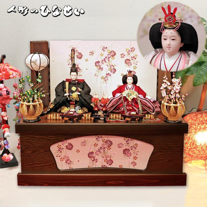 雛人形 モダンでおしゃれな【かぐら雛 】高級なお雛様で、お顔が凛々しい。ひな人形の衣装が刺繍