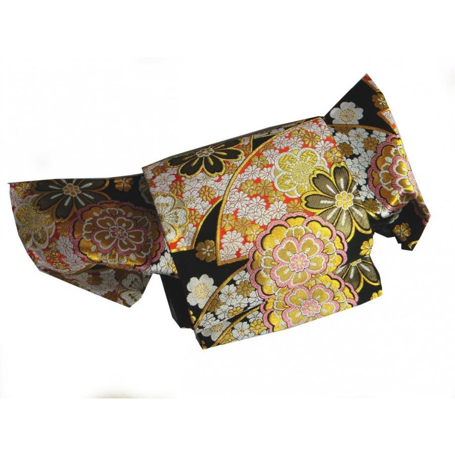 西陣織袋帯 正絹振袖用 黒地花文 正絹袋帯