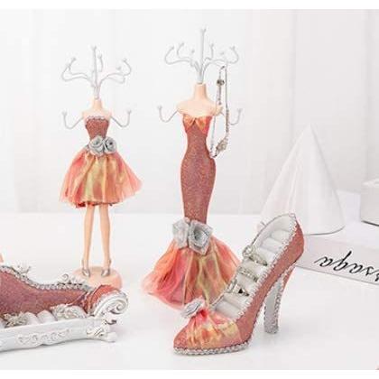 Batreetek ジュエリー収納 スタンド アクセサリースタンド 樹脂 ドレス型 ピアス 吊りネックレス チェーン 飾り物 小物 指輪|hiramekidou|04