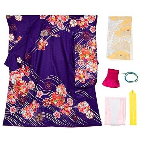 [キョウエツ] 着物セット 振袖 HL 洗える 花柄 6点セット(振袖着物、袋帯、帯揚げ、帯締め、伊達衿、襦袢) (10 Free Size)
