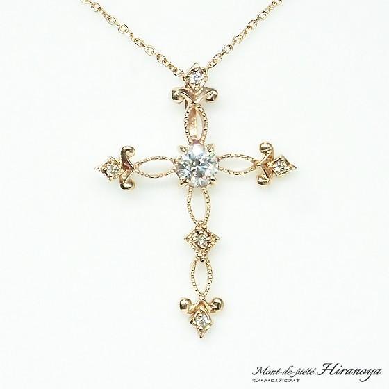 K18PG ダイヤモンドクロスペンダントネックレス|hiranoya78|03