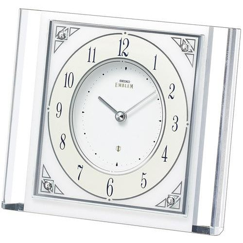 セイコー高級置時計 HW565W スワロフスキー 石枠 (白大理石)