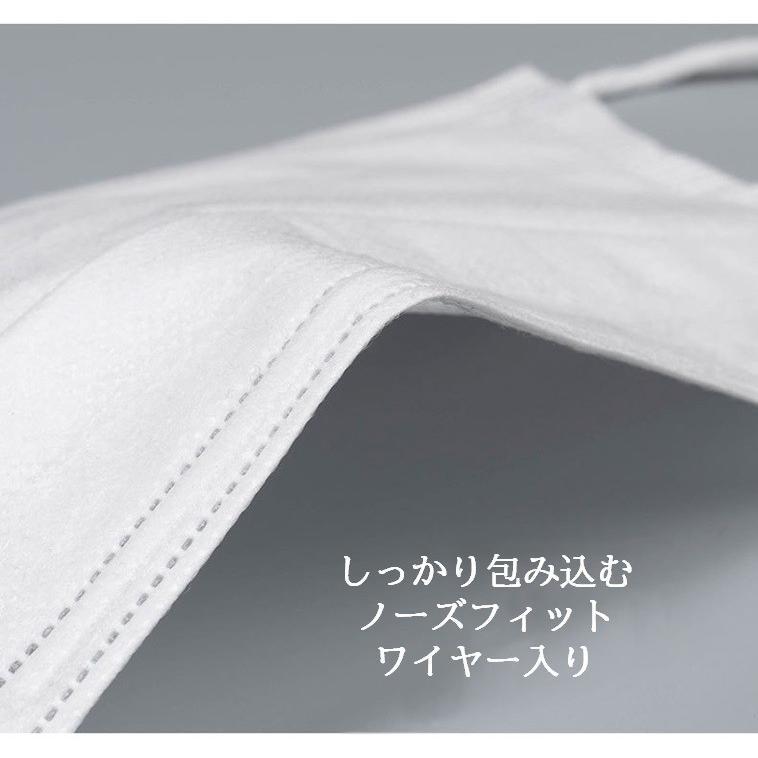 マスク 超密着 白 50枚 3層 不織布 メルトブローン 使い捨て 使い切り 国内発送 安心 安全 検査済 花粉 飛沫 対策|hitastejapan|06