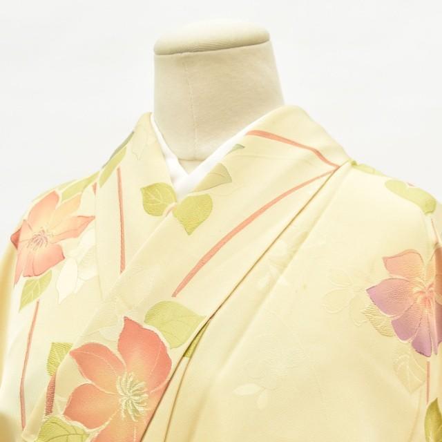 リサイクル 小紋 中古 正絹 縮緬 こもん 草花文様 裄65cm 茶