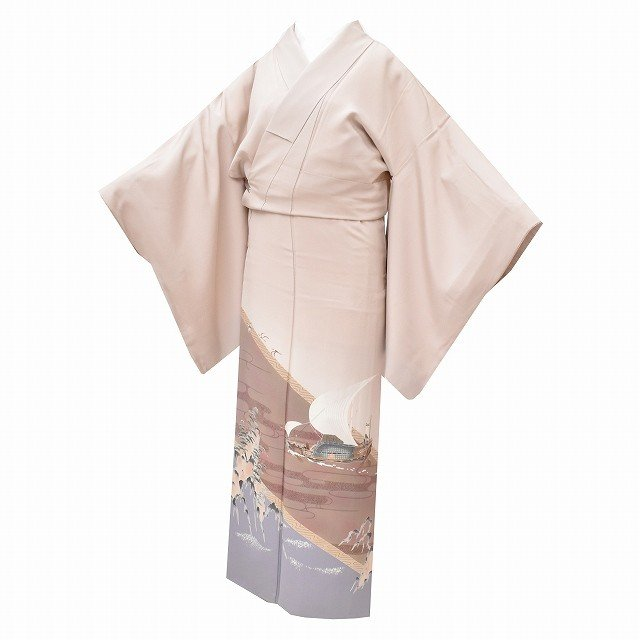 【信頼】 リサイクル 色留袖 正絹 仕立て上がり 一つ紋 ベージュ色系 裄67.5cm 身丈161.4cm 落款有 mm3658b, ビッグジョイ a1cf198b