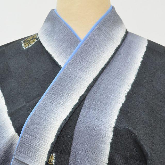 男性 小紋 袷 正絹 リサイクル着物 重ね衿付 メンズ pp1971b
