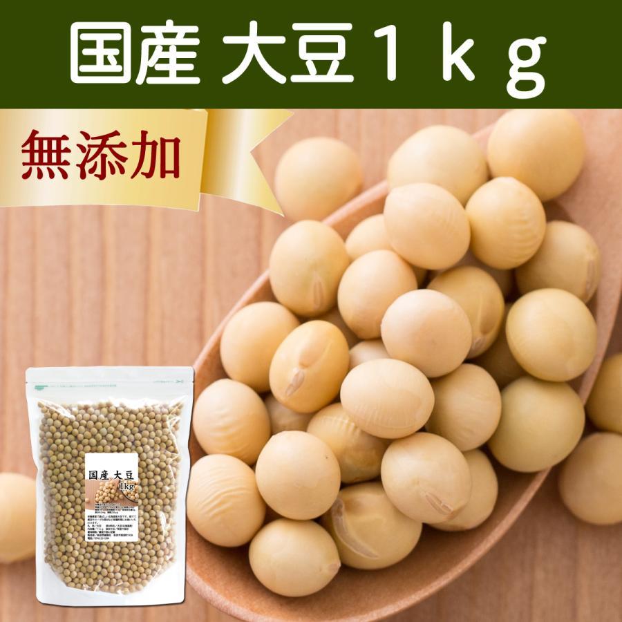 国産大豆1kg だいず ダイズ 北海道産 無添加 100% 白大豆 イソフラボン 煮豆 手作り味噌 材料 自然健康社