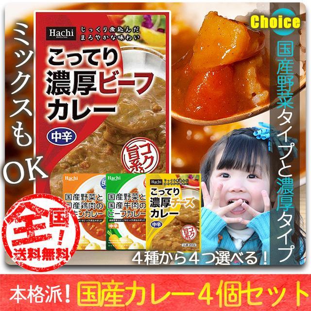 レトルトカレー 選べる 詰め合わせ 4個 セット 送料無料 非常食 辛い 甘口 中辛 辛口 Hachi ハチ食品 paypay Tポイント消化|hmgift