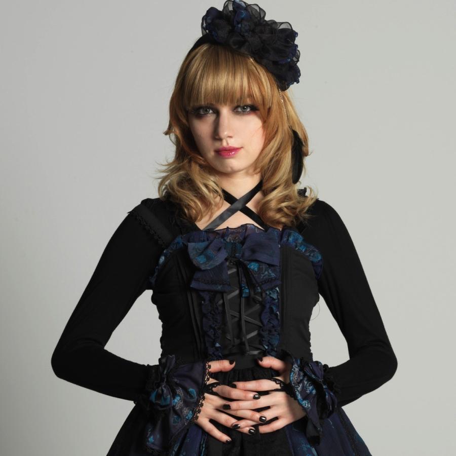 h.NAOTO お袖留め 青薔薇 リボン ゴシック ロリータ ゴスロリ Blue Rose Sleeve|hnaoto-gos|05