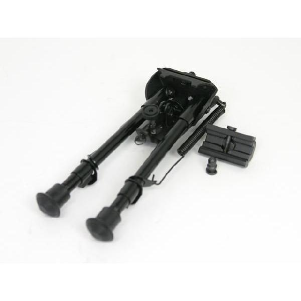 スイングタイプ/長さ19.5cm〜29cm7段階切替 20mmレール用アタッチメント付ハリスタイプ ミドルバイポッド M4M14M16AK47など