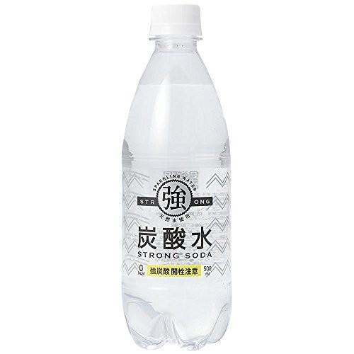 友桝飲料 強炭酸水 プレーン 天然水使用 STRONG SODA 500ml×24本|hobipoke