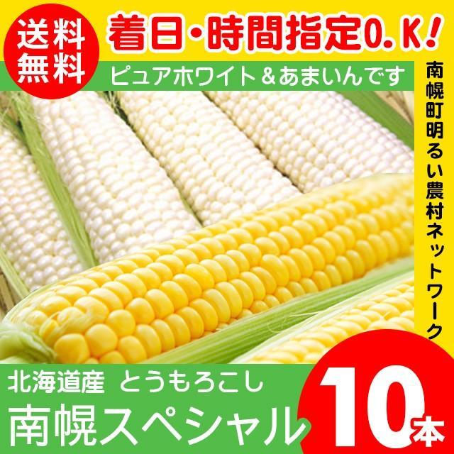 とうもろこし 北海道産 南幌スペシャル 10本入り ピュアホワイト あまいんです 各5本 トウモロコシ 入手困難 産地直送 セット 白い 食べ比べ 白 2種類 黄色 2色 SALE
