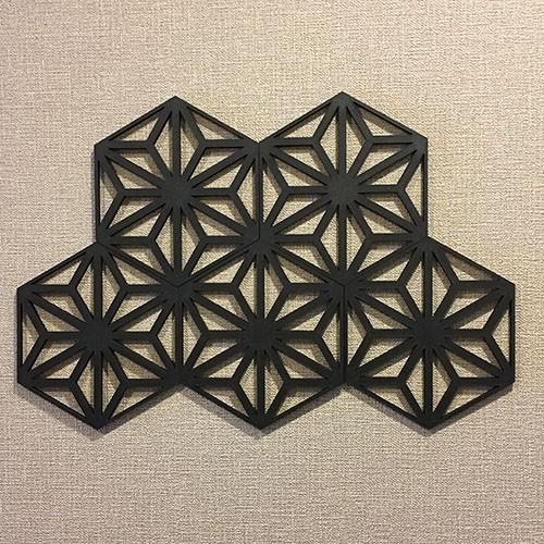 ウォールデコレーション 和風 麻の葉 ブラック 5枚組 木製 レリーフ 日本文様が縁起良い 和モダン アートパネル インテリア 組子調 壁飾り 割引も実施中 おしゃれ 装飾 立体