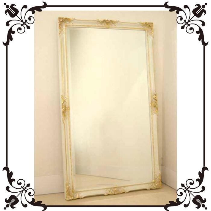 ウォールミラー エレガントフレーム ホワイト 長角 142 x x 83 [玄関 洗面台 壁掛け]