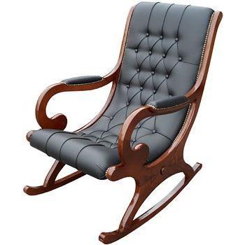 イタリア 家具 クラシック 本皮ロッキングチェアー ブラック 1Pソファ ヴェローナクラシック