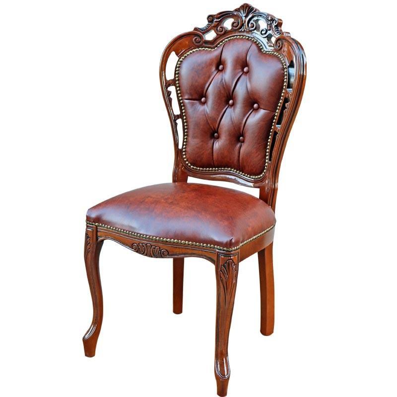 ダイニングチェア おしゃれ 木製 完成品 完成品 本皮 ブラウン 猫脚 20S/BRL クラシック 食卓椅子 イタリア 家具 ヴェローナクラシック