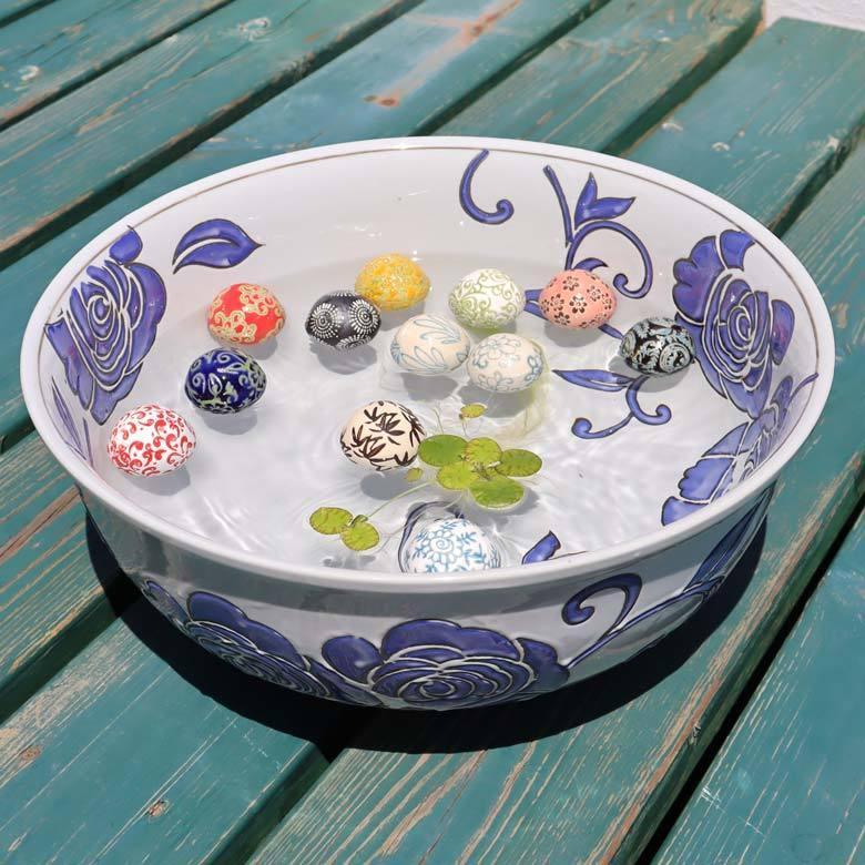 陶器 浮き球 12個セット 中 浮き玉 水鉢 待望 鉢 メダカ鉢 水連鉢 ビオトープ 期間限定お試し価格 和風 金魚鉢
