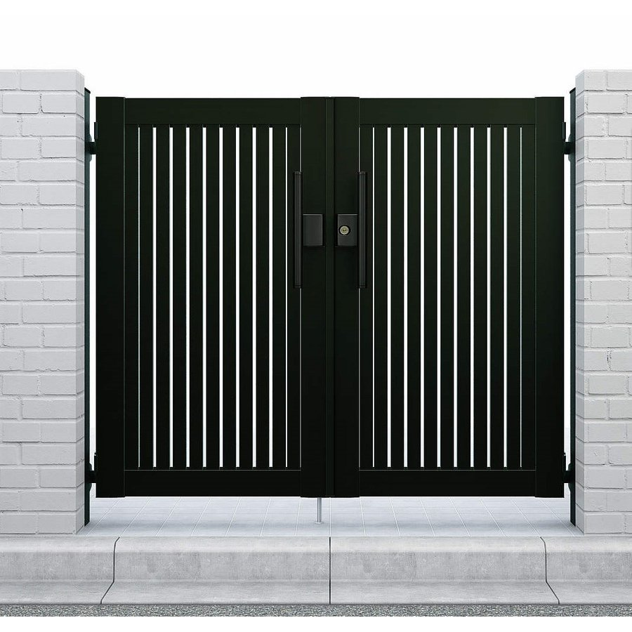 YKKAPガーデンエクステリア 門扉 シンプレオ 4型 両開き[門柱内開きセット]:[幅900mm×高1600mm]