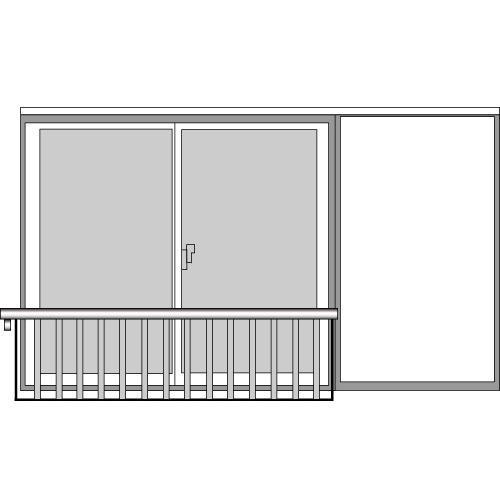 YKKAP窓まわり 窓手すり 手すりI型 セット品 鏡板無戸袋用(AT戸袋用ポール):Tタイプ(雨戸付引違い窓用)[幅2094mm×高750mm]