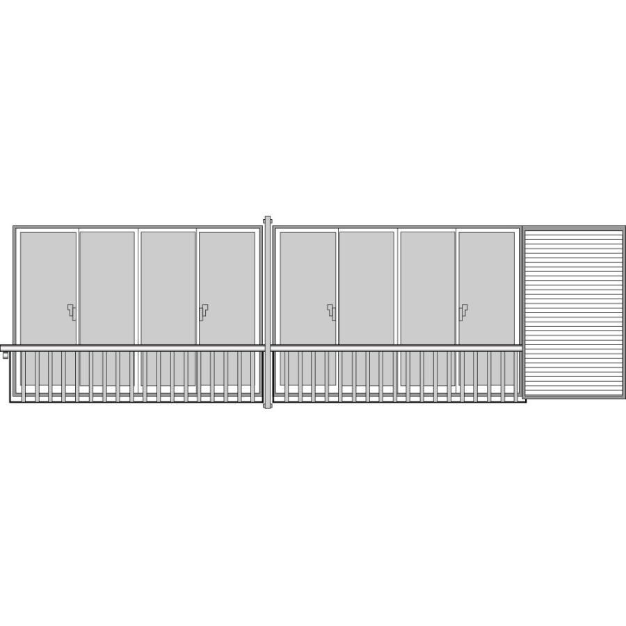 YKKAP窓まわり 窓手すり 手すりI型 セット品 鏡板付連窓戸袋用(5AT、3AT、7AT-2用):Tタイプ(雨戸付引違い窓用)[幅6131mm×高900mm]