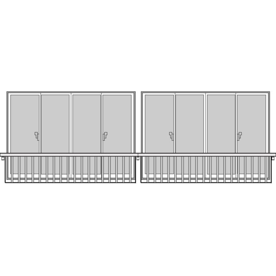YKKAP窓まわり 窓手すり 手すりI型 セット品 笠木連結用:Tタイプ(引違い窓用:出幅156)[幅6099mm×高1220mm]