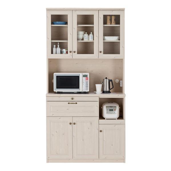 ユーアイ NEO MARGOTT(マーゴット) 食器棚105 (上台オープン+下台オープン) ホワイト木目 K-105HOP + K-105LOP〔代引不可〕