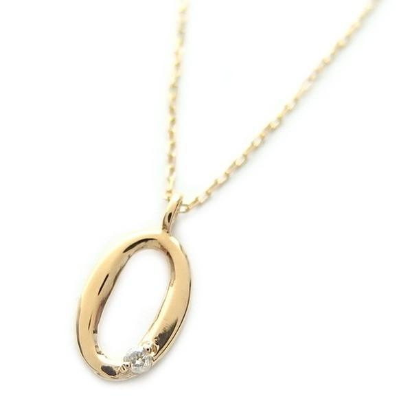 大洲市 ナンバー ネックレス ダイヤモンド ネックレス 一粒 0.01ct K18 ゴールド 数字 0 ダイヤネックレス ペンダント, RINKY DINK 38725391