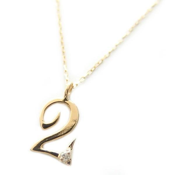 限定版 ナンバー ネックレス ダイヤモンド ネックレス 一粒 0.01ct K18 ゴールド 数字 2 ダイヤネックレス ペンダント, 銀座千疋屋 9894db66