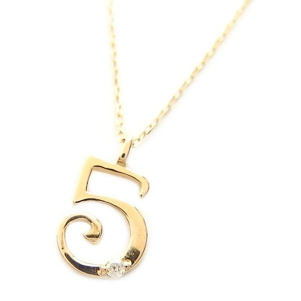 【お買得】 ナンバー ネックレス ダイヤモンド ネックレス 一粒 0.01ct K18 ゴールド 数字 5 ダイヤネックレス ペンダント, ミツギチョウ e8ad1876