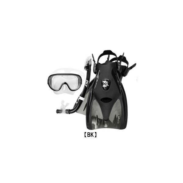 シュノーケリング 3点セット 〔BK/ブラック M〕 マスク フィン メッシュバッグ付き ドライスノーケルセット 『IST CF01』