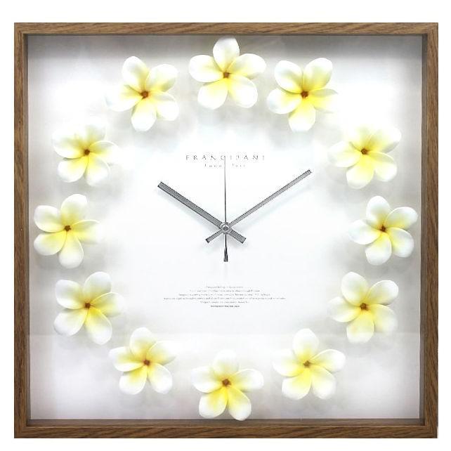 ハワイアン雑貨 インテリア ハワイ 雑貨 ハワイアン クロック プルメリア時計(ホワイト イエロー) CPC52450 掛け時計 ハワイ 土産 お土産 おみやげ