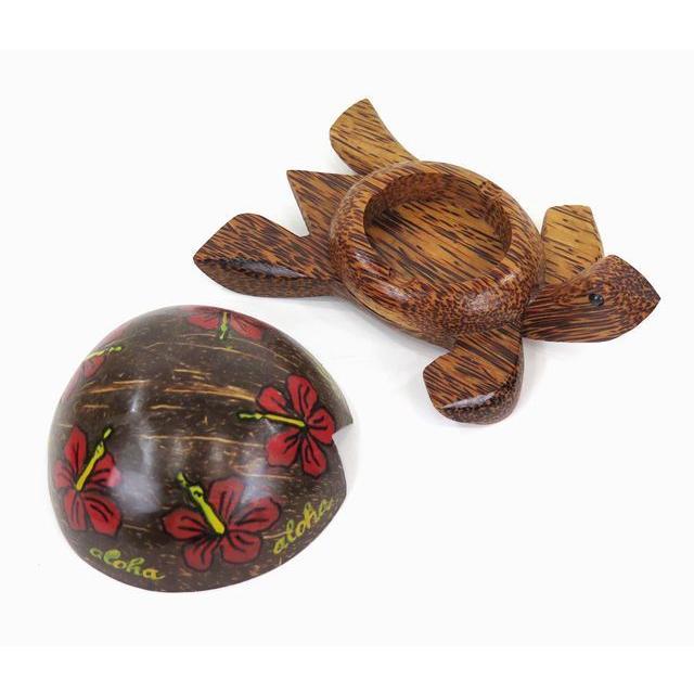ハワイアン雑貨 インテリア ココナッツ ホヌ型 小物入れ ハイビスカス プルメリア 灰皿 サーフ ハワイ雑貨 ハワイ お土産|holoholo|05