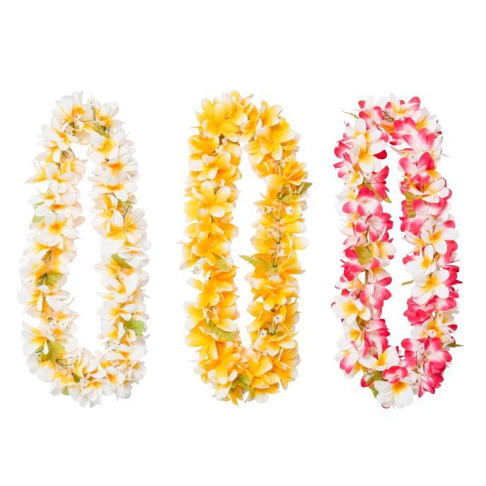 在庫処分セール フラダンス ハワイ レイ 信憑 全長95cm ホワイト イエロー インテリア ディスプレイ お土産 ピンク 花飾り 倉庫 ハワイアン雑貨