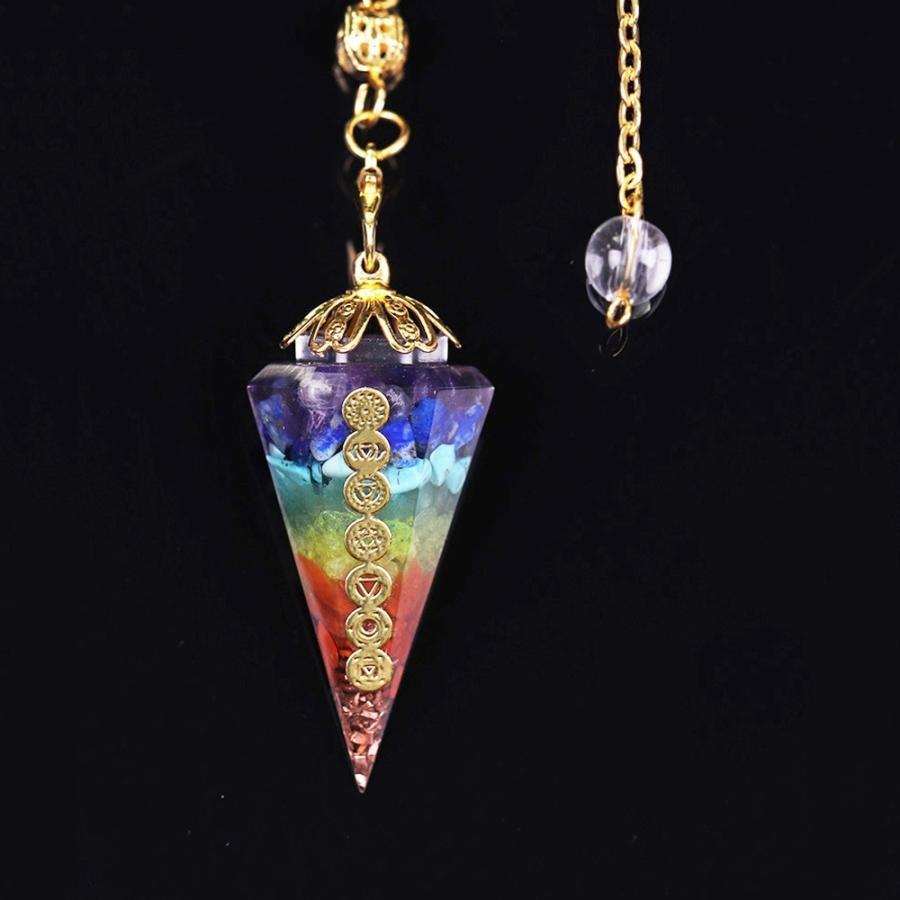 パワーストーン オルゴナイト 7チャクラ クリスタル AL完売しました。 ペンダント 超激安 振り子 瞑想 六角形 お守り エネルギーレイキ 天然石