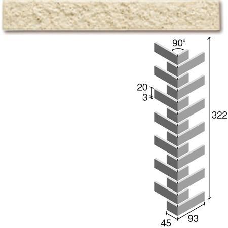 ニッタイ工業株式会社 外装壁タイル フレーバー(接着剤張り工法) FL203/1CRM ボーダー曲り(ユニット)(接着)